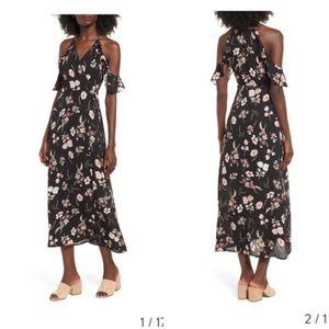Lush Cold-Shoulder Floral Wrap Maxi Dress